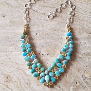 Beautiful necklace with turquoise & citrine